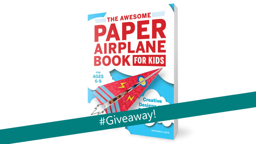 "awesome paper airplane book with text overlay ""giveaway"""
