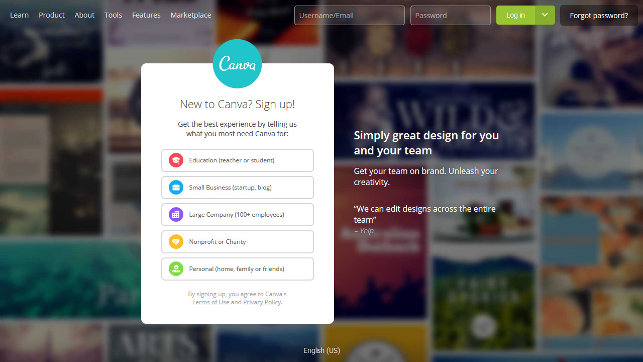 New to Canva Sign up