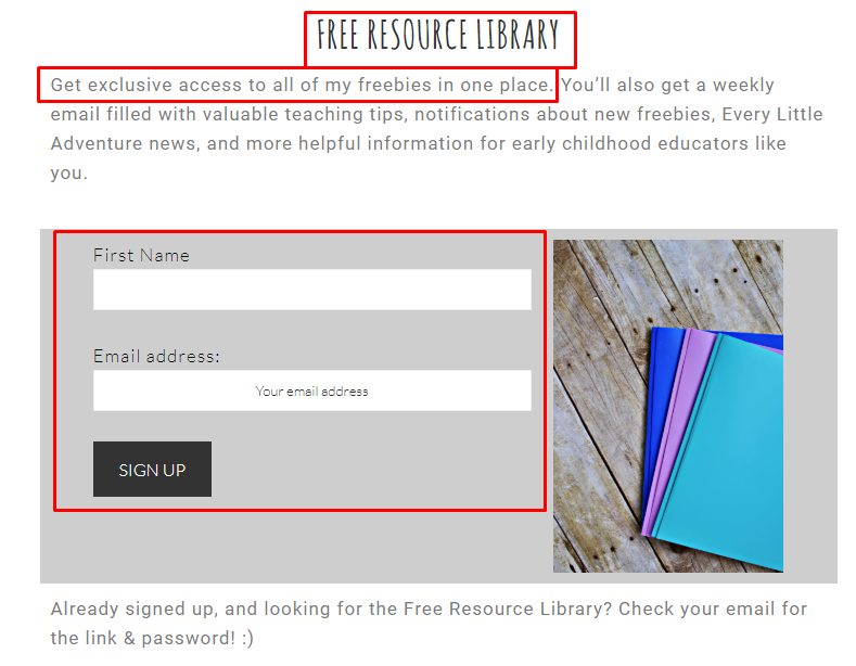 subscribe form free resource library