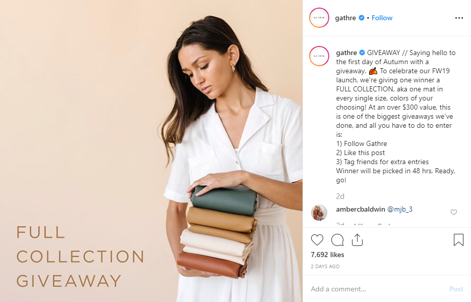 Boost Ecommerce Sales Instagram giveaway example