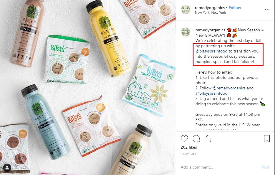 Build Brand Awareness Instagram giveaway example