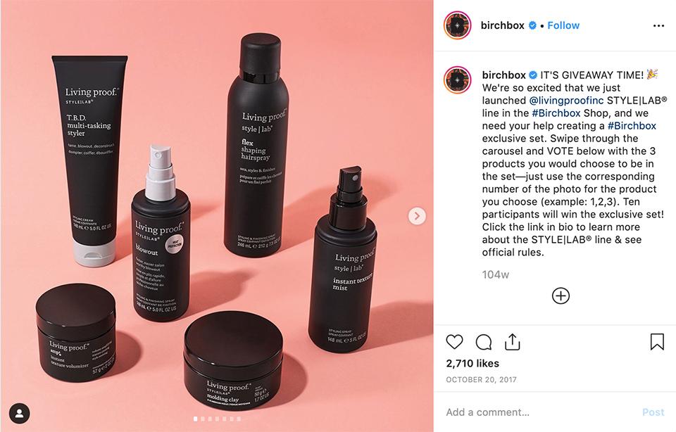 Sample Instagram Giveaway Example