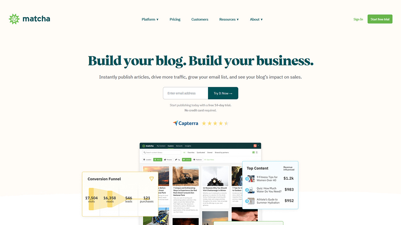 matcha Instantly publish professional blog content and measure its effect