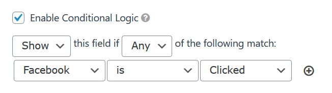 woorise conditional logic Facebook button is clicked