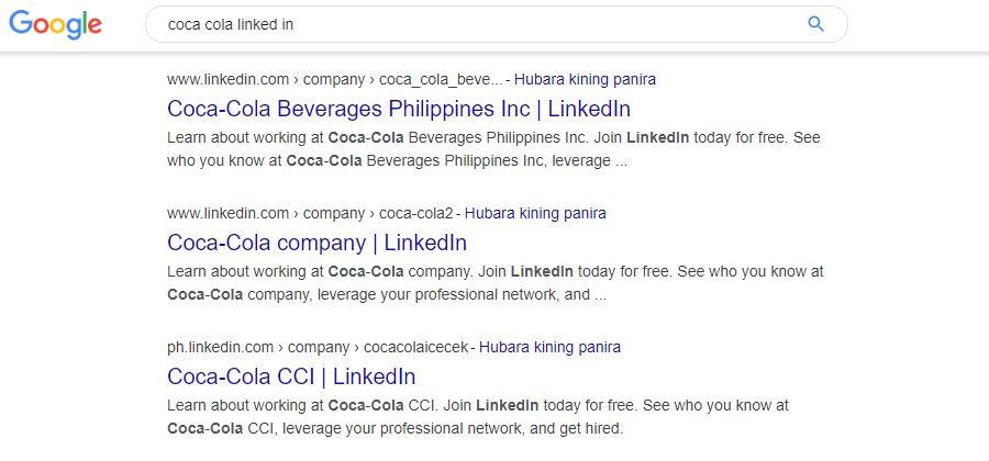 google coca cola search example