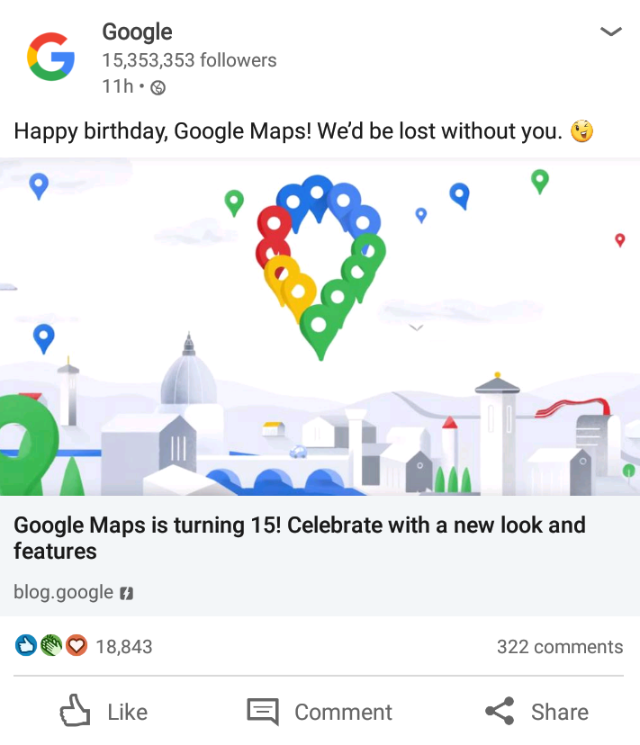 google maps happy birthday post