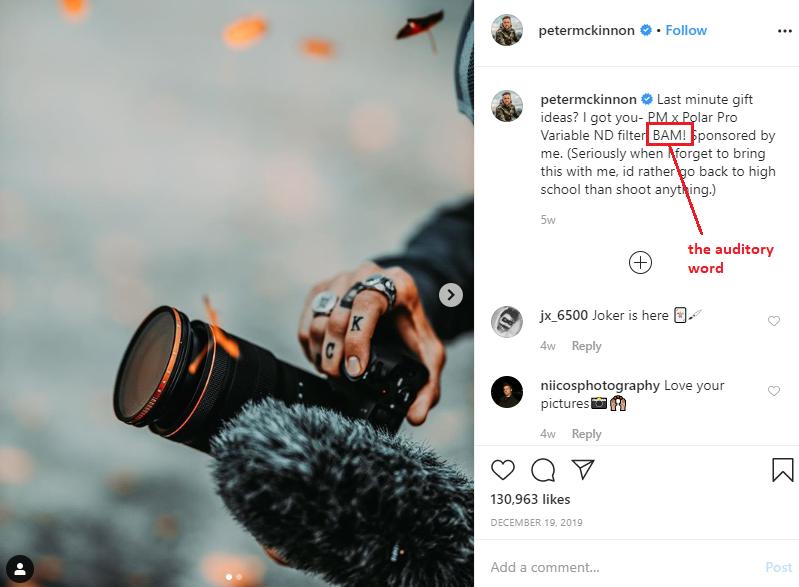 Instagram caption idea: Use Sensory Words in Captions