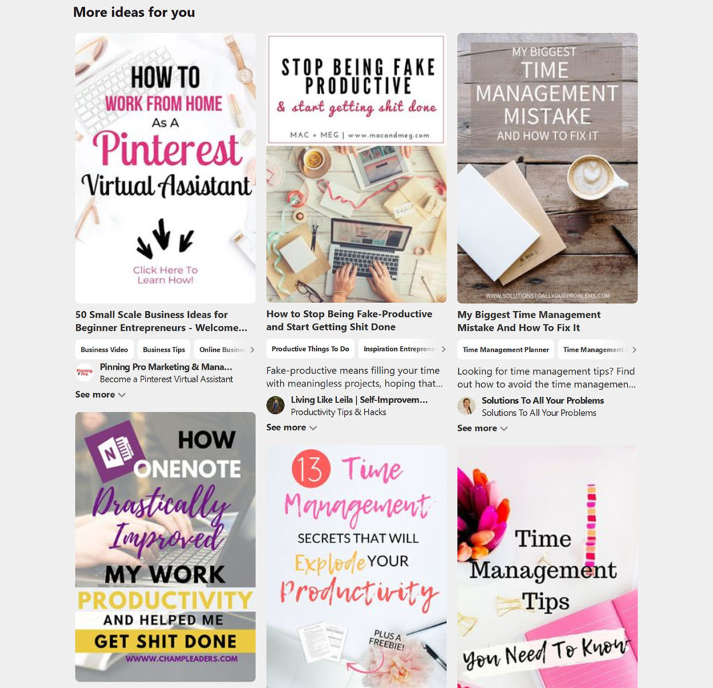Pinterest pins blog posts examples