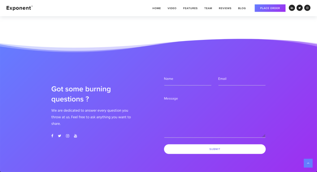 contact information landing page example
