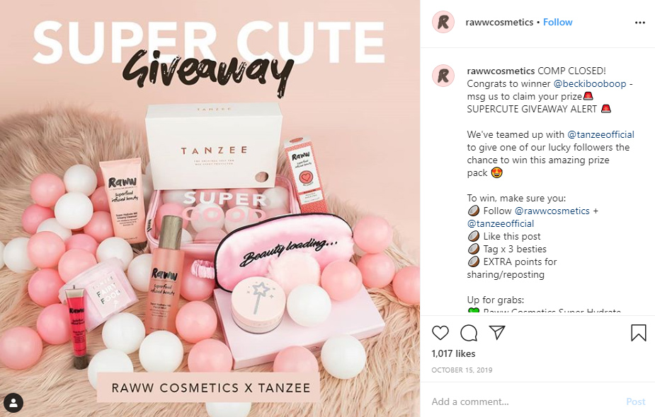 cosmetics giveaway prize example