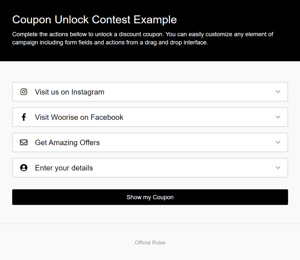 coupon unlock contest example