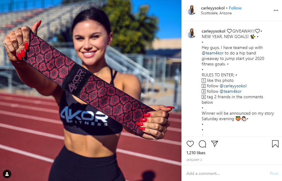 instagram giveaway fitness prize idea