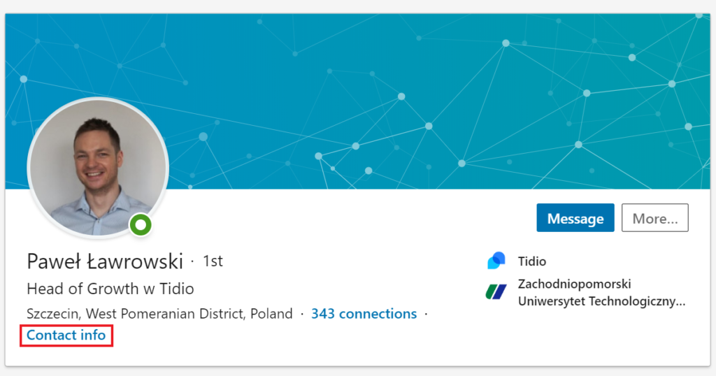 linkedin contact information profile example