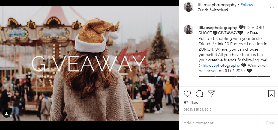 photography giveaway example