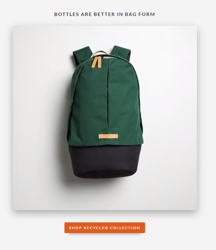 bellroy bag landing page example