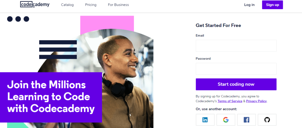 codeacademy landing page example
