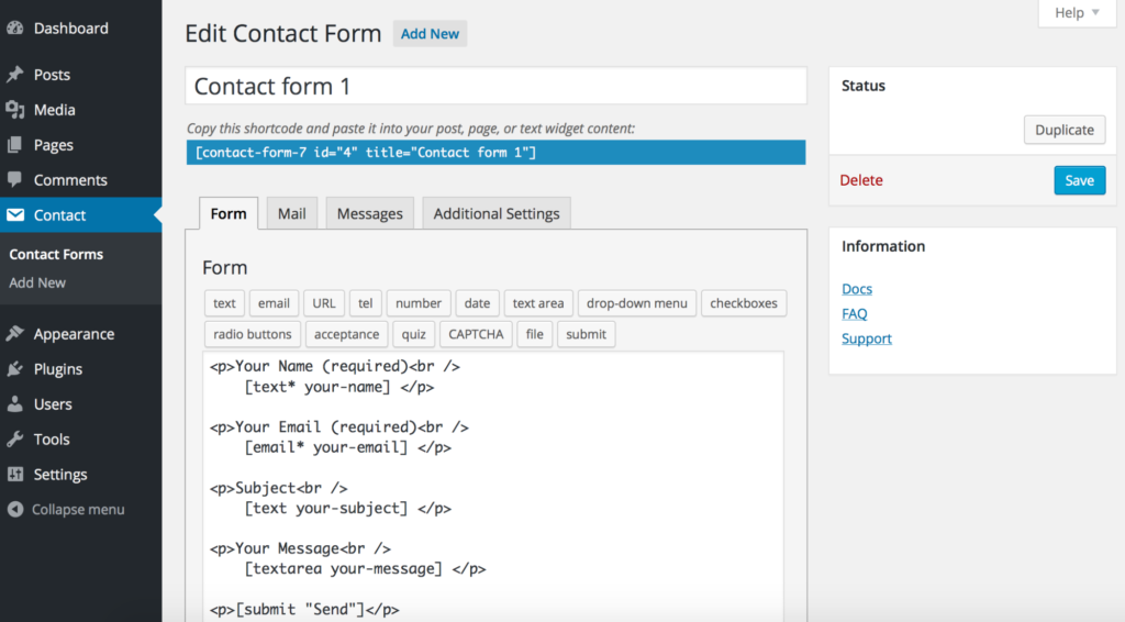 contact form 7 wordpress form plugin