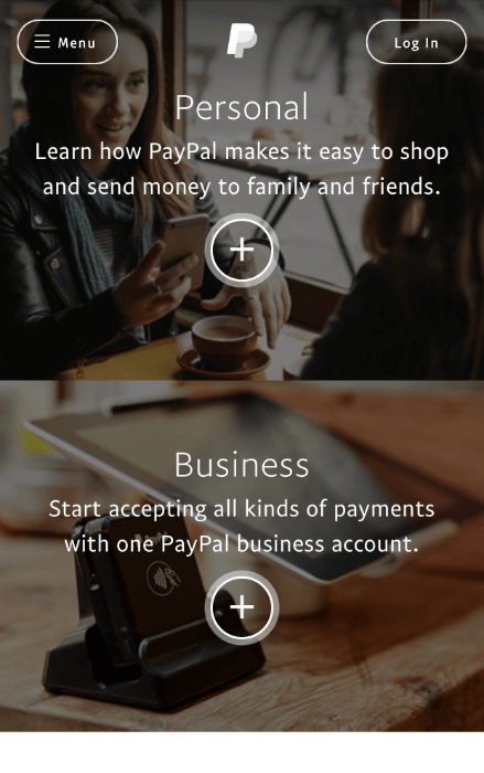 paypal landing page example mobile