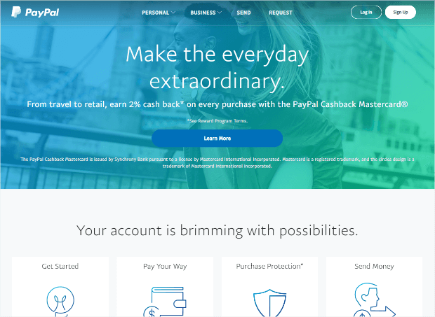 paypal landing page example responsive design