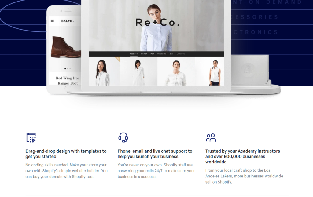 shopify academy landing page example