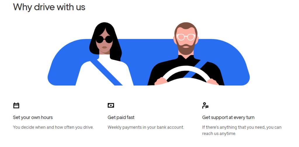 uber landing page example cta user response