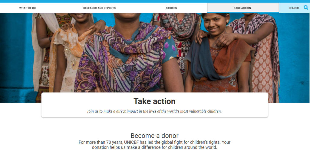 unicef landing page example logical flow