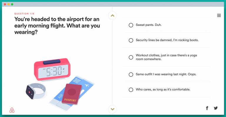 playful quiz from AirBnB