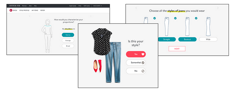 quiz funnel by online clothing subscription retailer Stitch Fix