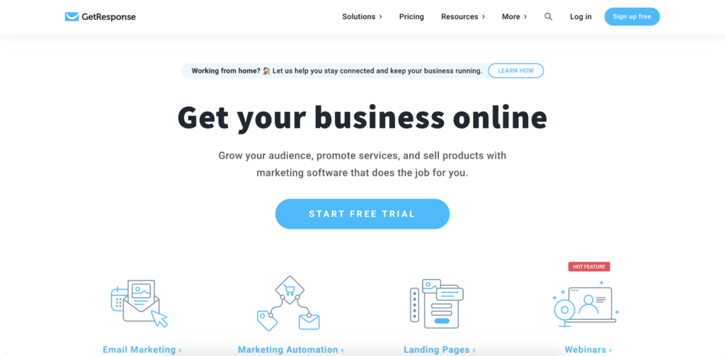 GetResponse landing page call to action example