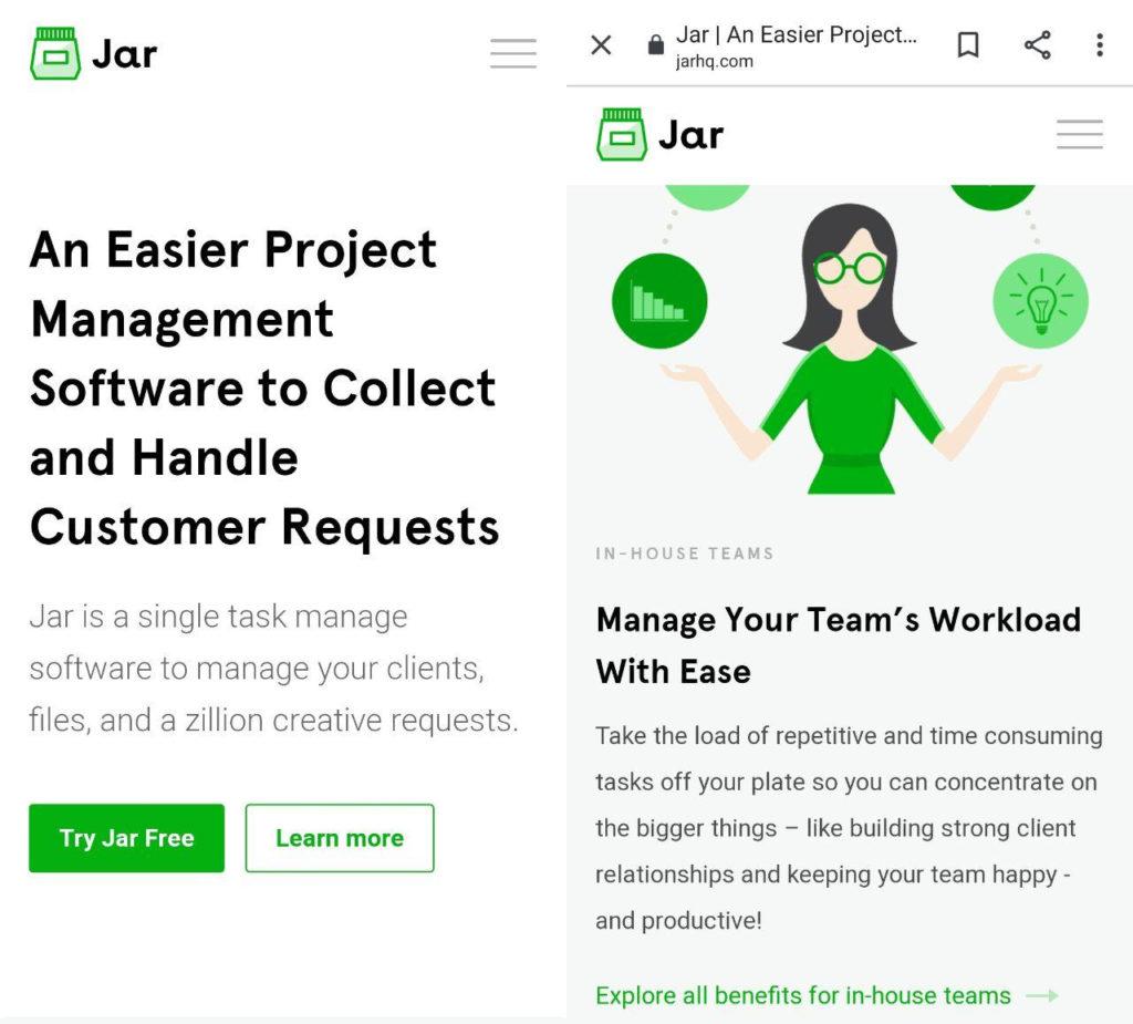 Jar landing page example