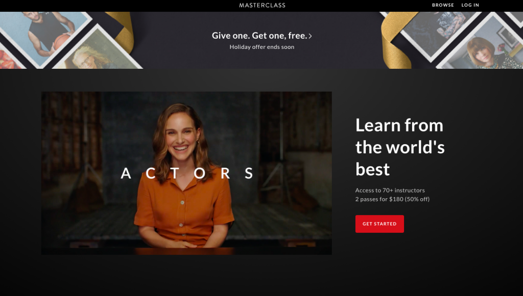Master Class landing page example