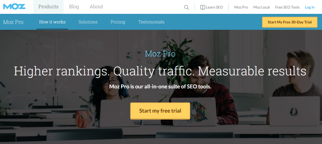 Moz Pro landing page example
