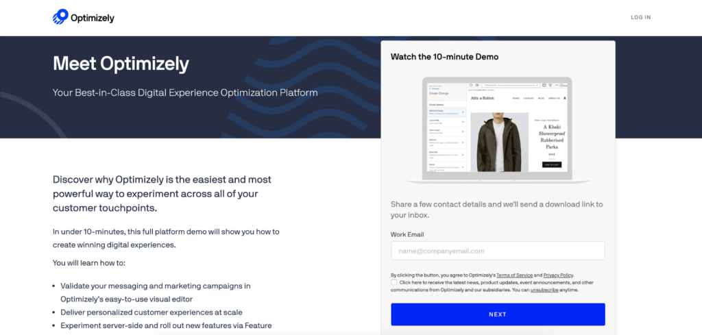 Optimizely landing page example