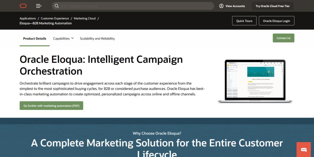 Oracle Eloqua automation & Customer Engagement Tool