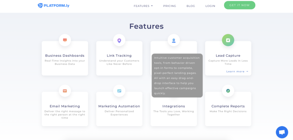 Platformly landing page features example