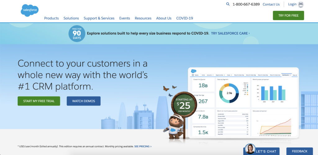 Salesforce landing page example