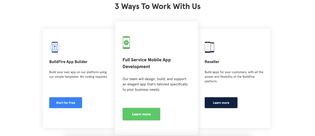 buildfire landing page benefits example