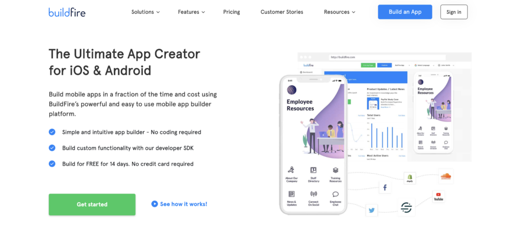 buildfire landing page example