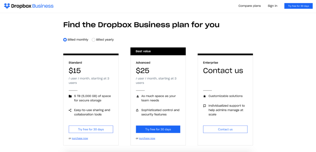 dropbox simple landing page example
