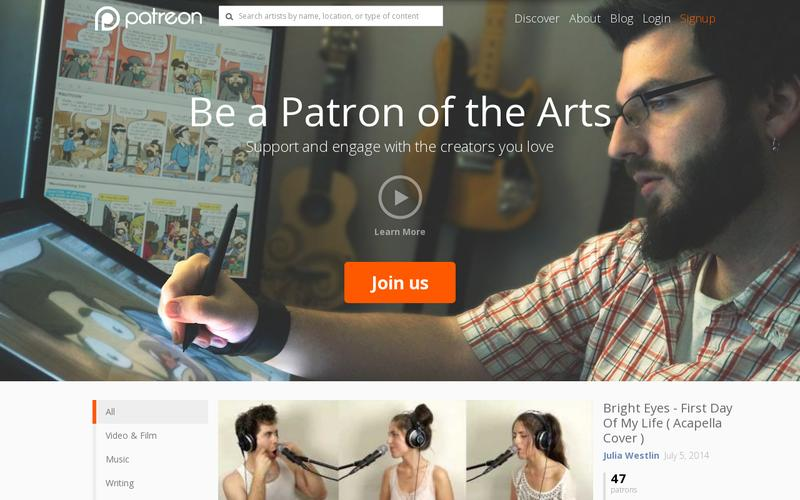 patreon landing page example