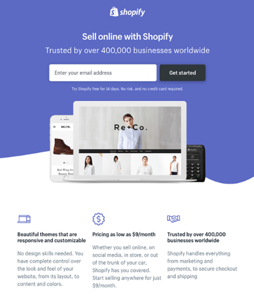 shopify landing page example