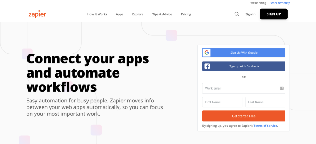 zapier landing page join cta example