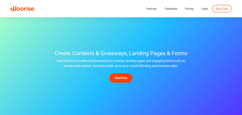 Woorise create giveaways, landing pages & forms
