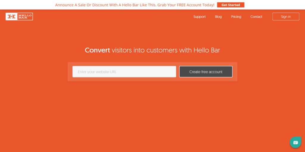Hello Bar lead generation tool