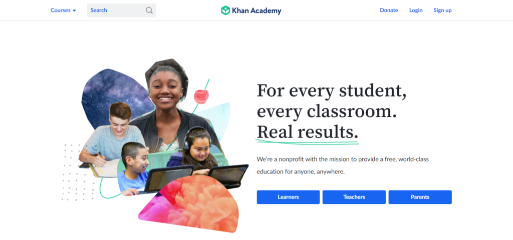 Khan Academy landing page example