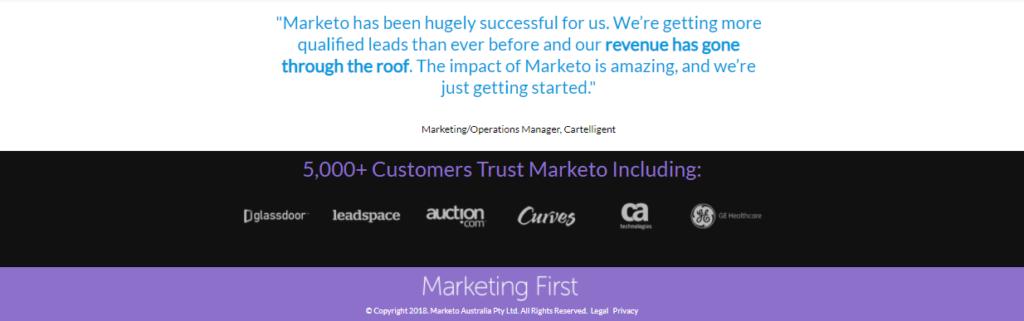 Marketo landing page customer logos