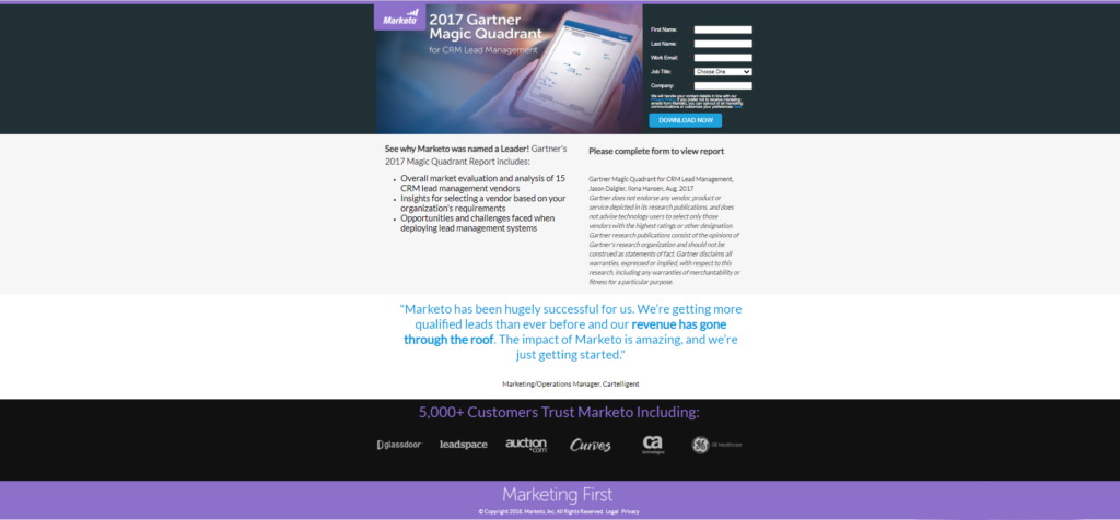 Marketo landing page example