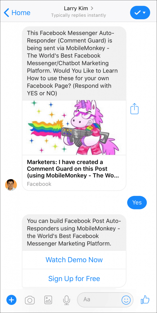 MobileMonkey chatbot