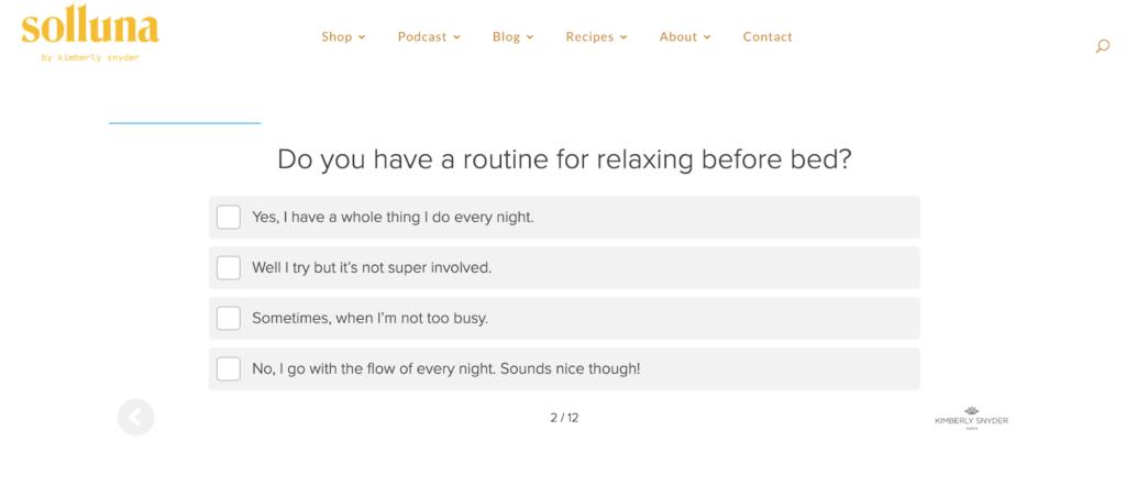 Solluna quiz example question
