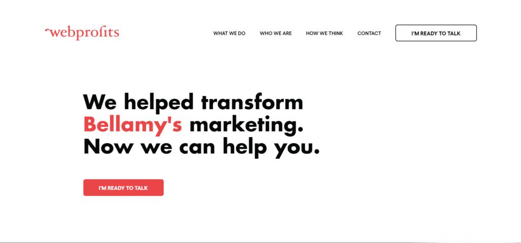 WebProfits benefits landing page example